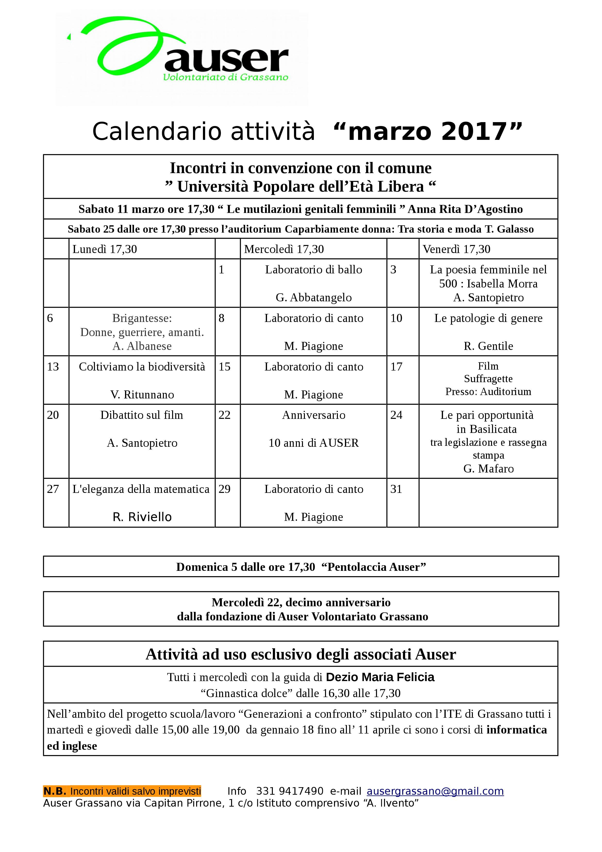 Calendario Di Marzo.Calendario Incontri Di Marzo 2017 Auser Grassano