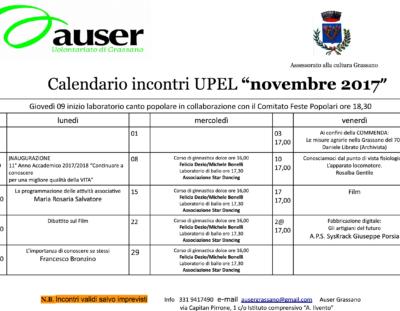 Calendario incontri di Novembre 2017