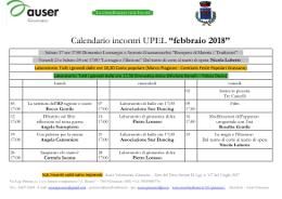 Calendario incontri di Febbraio 2018