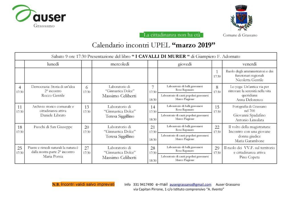 Calendario Di Marzo.Incontri Di Marzo Auser Grassano