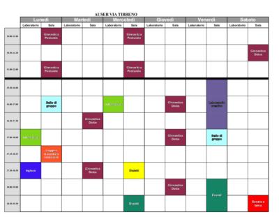 I calendari delle attività Auser